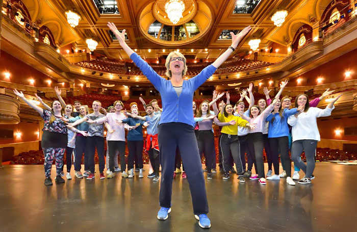 Voice coach Marion Scott leading performing arts students from Edinburgh Napier University and Queen Margaret University in a class on stage at Edinburgh's Festival Theatre. Photo: Dougie Barnett