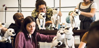 The cast rehearsing with multiple puppets. Photo: Photo: Birmingham Rep