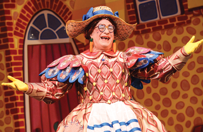 Kenneth Alan Taylor and, right, as Dame Daisy in Jack and the Beanstalk in 2013. Photo: Robert Day