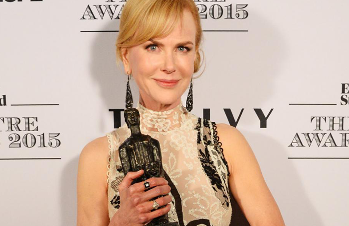 Nicole Kidman with her award in 2015. Photo: Dave Benett