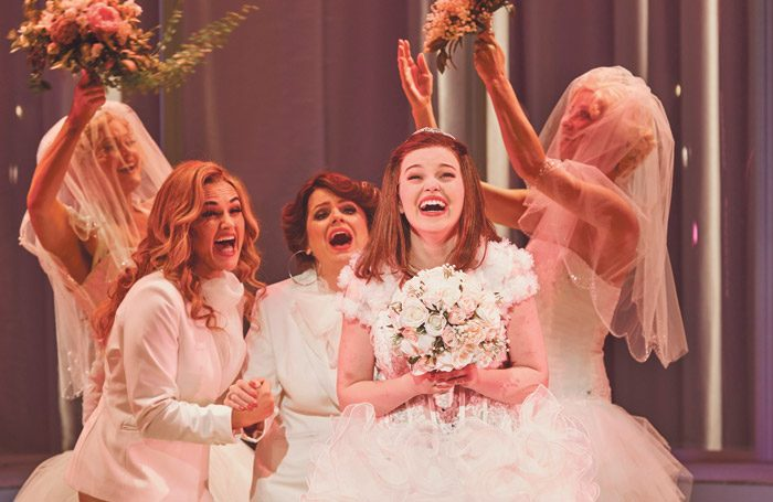 Sheridan Harbridge, Helen Dallimore and Maggie McKenna in Muriel's Wedding the Musical. Photo: Lisa Tomasetti
