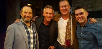 Gary Lineker (second left) with cast members John Bowler, Stephen Tompkinson and Dean Bone after a performance of The Red Lion at Trafalgar Studios, London