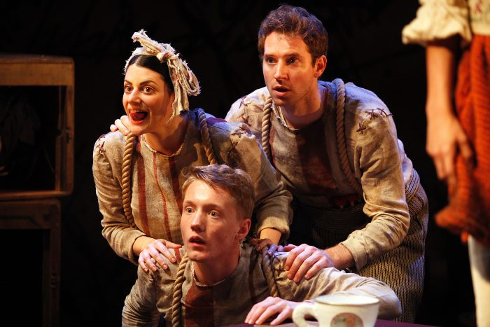 Natasha Karp, Frazer Hadfield and Ed MacArthur in The Borrowers at Watermill Theatre, Newbury. Photo: Philip Tull