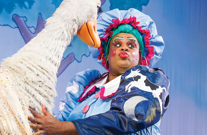 Clive Rowe in Mother Goose. Photo: Tristram Kenton