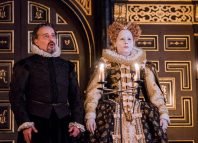 Aidan McArdle and Tara Fitzgerald in The Secret Theatre at Sam Wanamaker Playhouse, London. Photo: Tristram Kenton