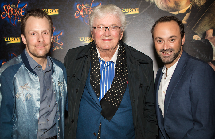 Artistic director Nikolai Foster, Leslie Bricusse (book, music and lyrics) and chief executive Chris Stafford at the press night for Scrooge at Leicester Curve. Photo: Pamela Raith