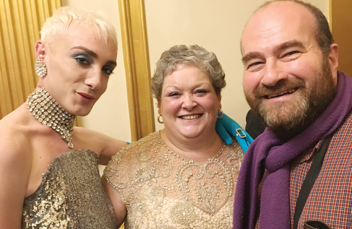 Jamie Campbell (inspiration for the lead character in Everybody's Talking About Jamie) and his mother Margaret with The Stage's associate editor Mark Shenton. Photo: Philip Quast