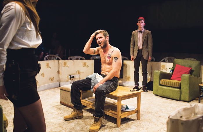 Morfydd Clark, Jason Hughes and David Moorst in Violence and Son, directed by Pirie in 2015. Photo: Helen Maybanks