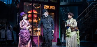 Hollie Taylor, Jasper-Britton and Bree Smith in Scrooge the Musical at Curve, Leicester. Photo: Pamela Raith