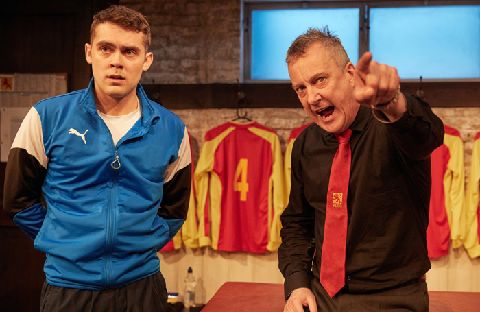 Dean Bone and Stephen Tompkinson in The Red Lion at Trafalgar Studios. Photo: Mark Douet