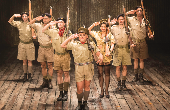 Simon Russell Beale (centre) and company in the Michael Grandage Company production of Nichols' play Privates on Parade at London's Noel Coward Theatre in 2012. Photo: Johan Persson
