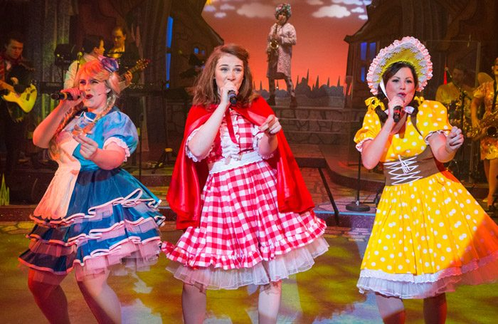 Lana Walker, Lucy Wells, and Isobel Bates in Red Riding Hood at the New Wolsey Theatre, Ipswich