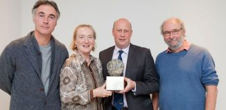 Greg Wise (guest), Cinzia Hardy (November Club artistic director), Robert Addison (manager of Hexham and Northern Marts) and Peter Brooke-Ball (award sculptor) at the 2017 Achates Awards