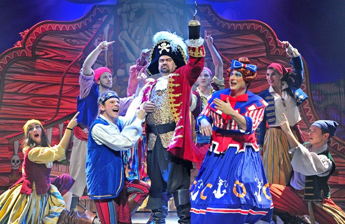 Shaun Williamson and the company of Peter Pan in Marlowe Theatre, Canterbury