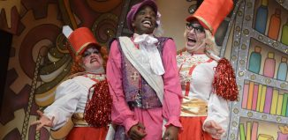 Lizzy Dive, Jean-Luke-Worrell and Anthony Spargo in Cinderella at Greenwich Theatre, London. Photo: Robert Day