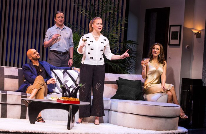 Keegan-Michael Key, Jeremy Shamos, Amy Schumer, and Laura Benanti in Meteor Shower at Booth Theatre, New York. Photo: Matthew Murphy