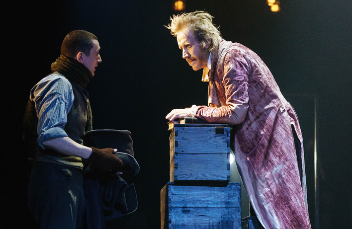 John Dagleish and Rhys Ifans in A Christmas Carol at the Old Vic, London. Photo: Manuel Harlan