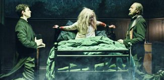 Adam Garcia, Clare Louise Connolly, and Peter Bowles in The Exorcist at Phoenix Theatre, London. Photo: Robert Day