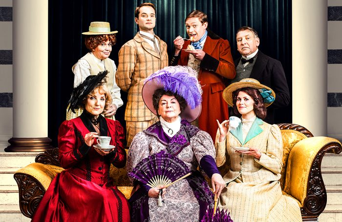 Susan Penhaligon, Peter Sandys Clarke, Thomas Howes, Simon Shackleton, Kerry Ellis, Gwent Taylor and Louise Coulthard in Oscar Wilde's The Importance of Being Earnest, photo: Jay Brooks