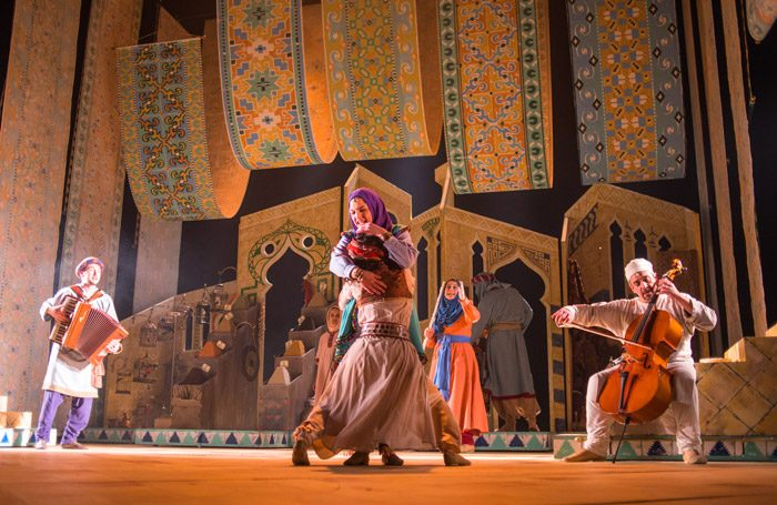 The cast of The Arabian Nights at Lyceum Theatre, Edinburgh. Photo: Tommy Ga-Ken Wan