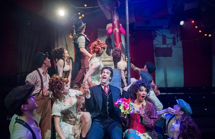 Marcus Brigstocke and the company of Barnum at Menier Chocolate Factory, London. Photo: Tristram Kenton