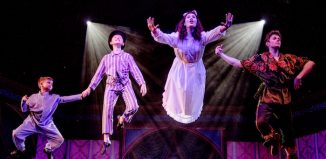 Emilie du Leslay and Rob Houchen in Peter Pan at Harlow Playhouse. Photo by Idil Sukan/Draw HQ