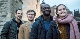 East Wall director Hofesh Shechter with choreographers James-Finnemore, Joseph Toonga and Becky Namgauds