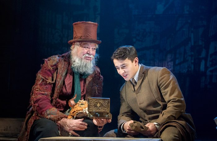 "Matthew Kelly and Alistair-Toovey-in The Box of Delights at Wilton's Music Hall, London. Photo"" Alistair Muir"