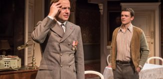 Geoffrey Streatfeild and Emmet Byrne in Cell Mates at Hampstead Theatre, London. Photo: Marc Brenner