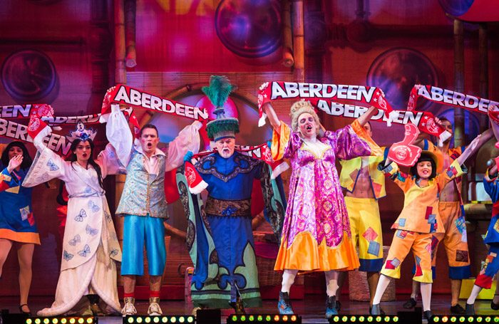 The cast of Aladdin at Her Majesty's Theatre, Aberdeen