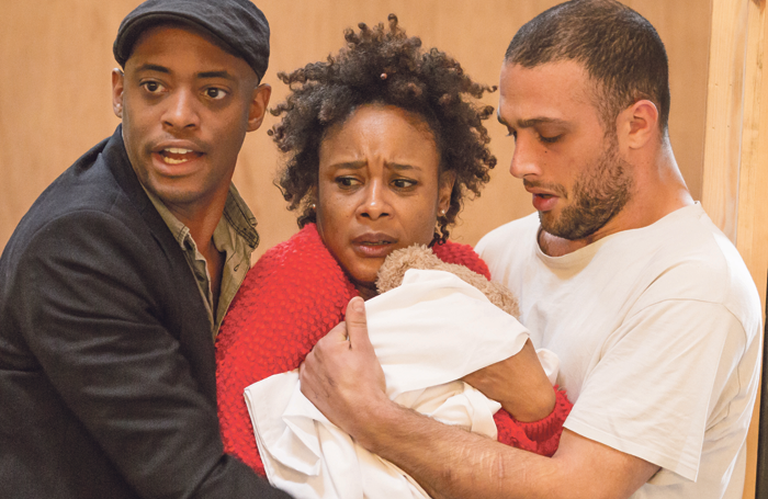 Oliver Alvin-Wilson, Franc Ashman and Cosmo Jarvis in rehearsals for The Twilight Zone. Photo: Marc Brenner