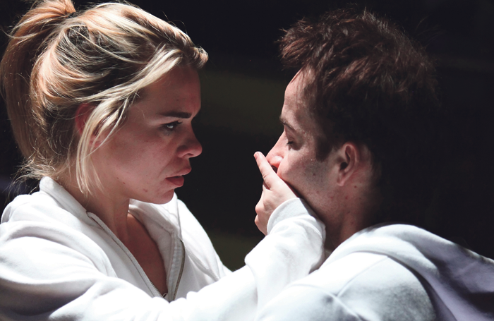 Billie Piper and Jonjo O'Neill in The Effect at the National Theatre in 2012. Photo: Ellie Kurtz