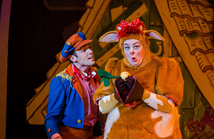 Sam Harrison and Laura Crowhurst in Jack the Beanstalk at Salisbury Playhouse
