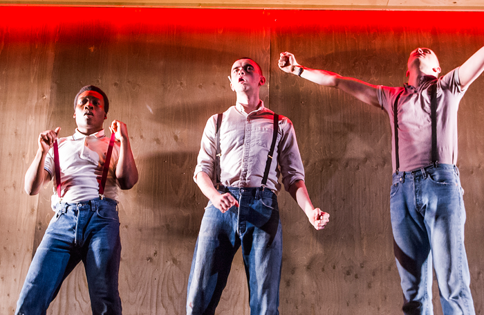 Fisayo Akinade, Brian Vernel and Alex Austin in Barbarians by Barrie Keeffe at the Young Vic. Photo: Tristram Kenton
