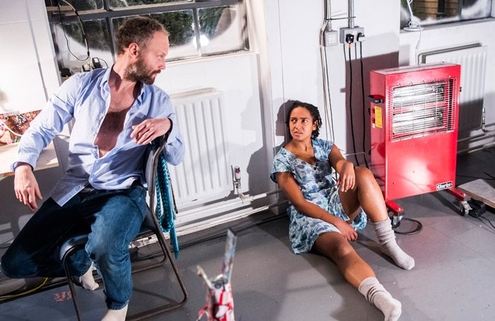 Alex Beckett and Amaka Okafor in Grimly Handsome at Royal Court, London. Photo: Tristram Kenton