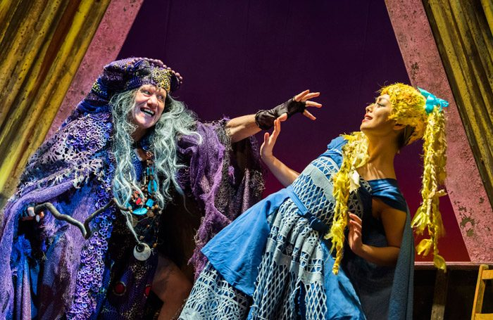 Michael Bertenshaw and Julie Yammanee in Rapunzel at Theatre Royal Stratford East, London. Photo: tristram Kenton