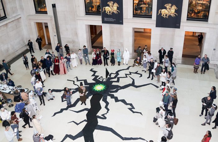 BP logo surrounded by cracks at the British Museum protest. Photo: Diana More