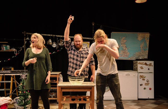 Rachel Parris, Jonny Donahoe and Paddy Gervers in Thirty Christmases at New Diorama, London. Photo: Josh Tomalin