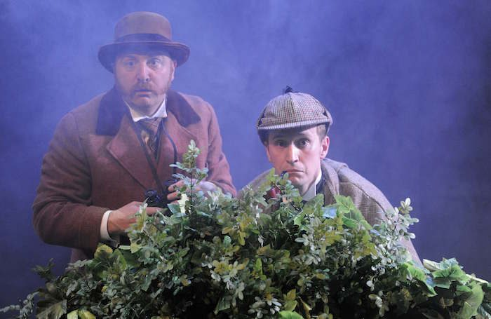 Simon Kane and Max Hutchinson in The Hound of Baskervilles at Jermyn Street Theatre.