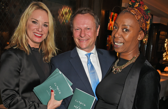 Actors Tamzin Outwaite, Neil Stuke and Noma Dumezweni at Acting for Others' For One Night Only dinner at the Ivy. Photo: Dave Benett
