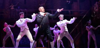 Giles Terera and other members of the West End cast of Hamilton. Photo: Matthew Murphy