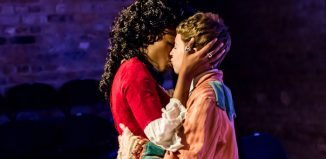 Marilyn Nadebe and Georgia Bruce in Callisto: A Queer Epic at Arcola Theatre, London. Photo: Lidia Crisafulli