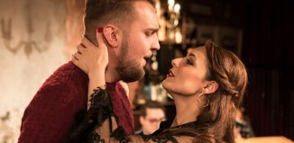 Thomas Isherwood and Honey Rouhani in La Boheme at Trafalgar Studios, London. Photo: Scott Rylander