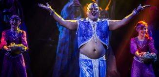 Jonathan Mayor as Slave of the Ring in Aladdin at the Charter Theatre, Preston. Photo: Michael Porter