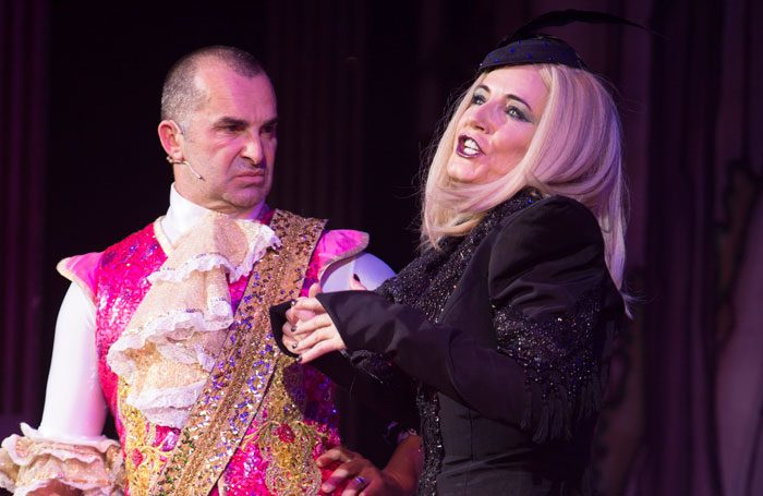 Louie Spence and Michelle Collins in Cinderella at Orchard Theatre, Dartford. Photo: Qdos