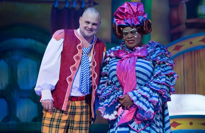Al Murray and Clive Rowe in Jack and the Beanstalk at New Wimbledon Theatre, London