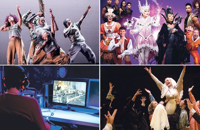 Clockwise from top left: the Barbican staged Blak Whyte Gray earlier this year; Michael Harrison's Cinderella at the London Palladium; Fiddler on the Roof by Liverpool Everyman's rep company, and The Believers Are But Brothers. Photos: Tristram Kenton/Stephen Vaughan/The Other Richard