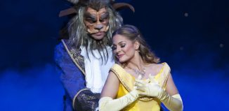 Naomi Slights and Ben Richards in Beauty and the Beast at Nottingham Theatre Royal. Photo: Whitefoot Photography