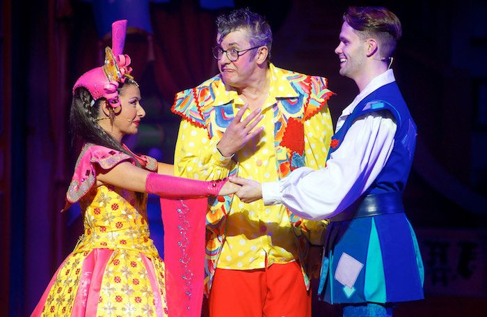 Hayley Tamaddon, Joe Pasquale and Alexis Gerred in Aladdin at Bristol Hippodrome.