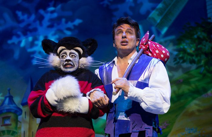 Ryan Kayode and John Barrowman in Dick-Whittington at Manchester Opera House. Photo: Phil Tragen